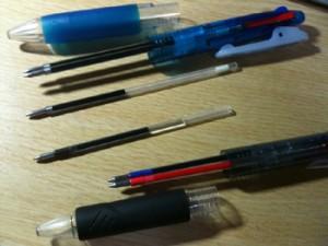 二つのペンのリフィルの長さ